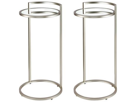 Elk Home Silver / Clear 14'' Wide Round End Table (Set of 2)