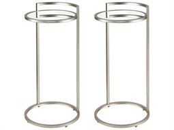 Silver / Clear 14'' Wide Round End Table (Set of 2)