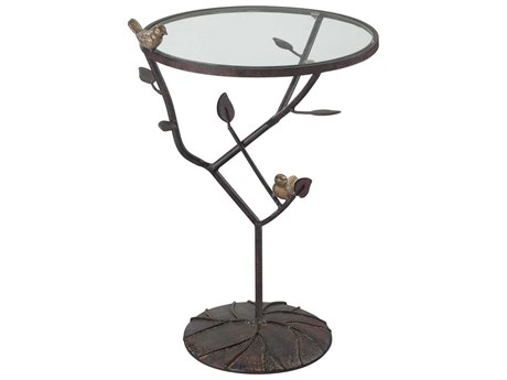 Elk Home Antique White / Bronze Gold 14'' Wide Round End Table