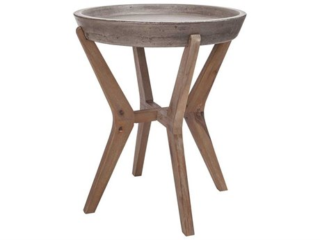 Elk Home Silver Brushed Wood Tone / Waxed Concrete 18'' Wide Round End Table