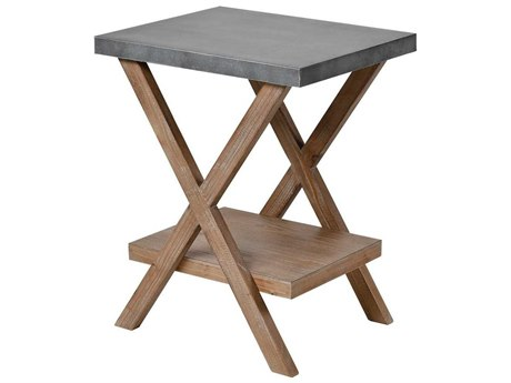 Elk Home Natural Wood / Antique Galvanized Steel 18'' Wide Rectangular End Table
