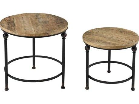 Elk Home Salvaged Grey Oak / Bronze 22'' Wide Round End Table (Set of 2) EK3200170S2