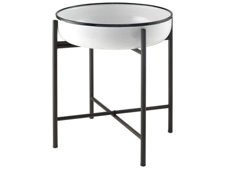 Elk Home White / Black 21'' Wide Round End Table