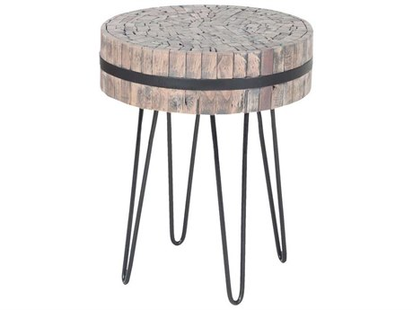 Elk Home Bronze Iron / Natural Wood Tone 17'' Wide Round End Table