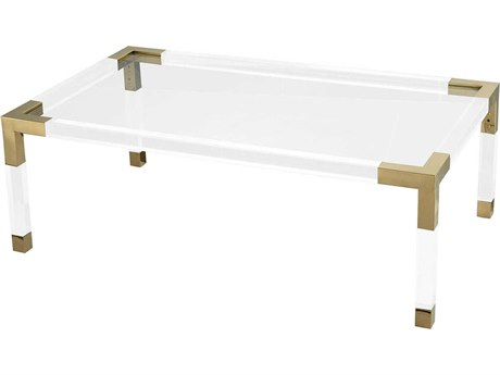 Elk Lighting Equity Clear Acrylic / Gold Plated Stainless Steel 47'' Wide Rectangular Coffee Table