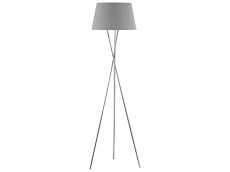 Elk Lighting Excelsius Polished Nickel Floor Lamp with Grey Shade