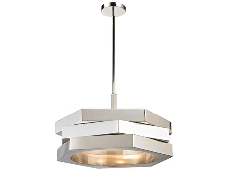 Flambeau Fragment Drum Silver 15 Wide Pendant Light