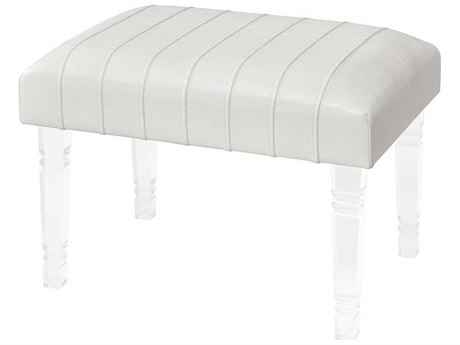 Elk Home White Faux Leather / Clear Acrylic Ottoman