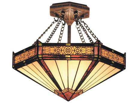 Elk Lighting Filigree Aged Bronze Three-Light 14'' Wide Semi-Flush Mount Light EK621AB