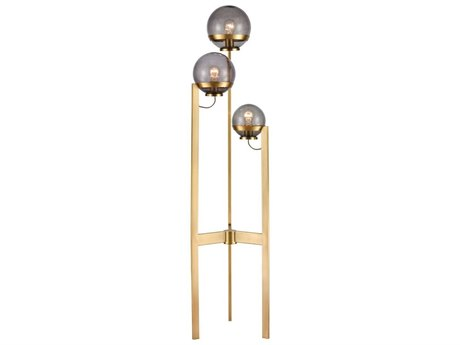 Elk Home Antique Brass / Smoked Glass Three-Light Floor Lamp