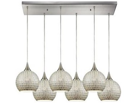 Elk Lighting Fusion Satin Nickel 32'' Wide Glass Island Light