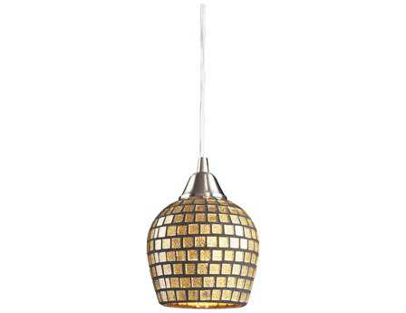 Elk Lighting Fusion Satin Nickel & Gold Mosaic Glass 5'' Wide Pendant