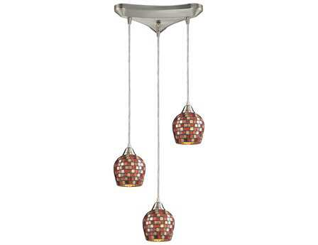 Elk Lighting Fusion Satin Nickel & Mosaic Glass Three-Light 10'' Wide Pendant
