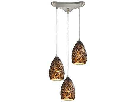 Elk Lighting Geval Satin Nickel & Burnt Caramel Glass Three-Light 10'' Wide Mini-Pendant