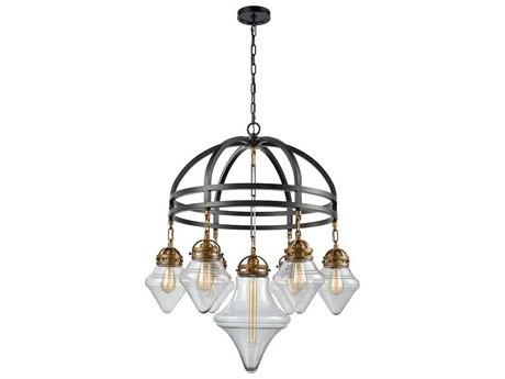 Elk Lighting Gramercy Oil Rubbed Bronze/Classic Brass Seven-Light 33'' Wide Chandelier