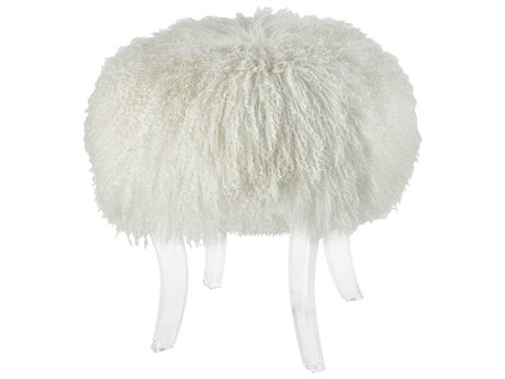 Elk Lighting Hair Apparent White Ottoman
