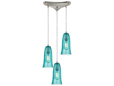 Elk Lighting Hammered Glass Satin Nickel & Aqua Glass Three-Light 10'' Wide Mini-Pendant