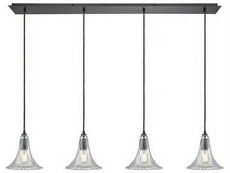 Elk Lighting Hand-formed Glass Oil Rubbed Bronze 46'' Wide Island Light