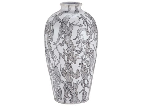 Elk Lighting Thicket Hand Painted Black & White Vase