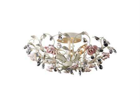 Elk Lighting Heritage Creme & Porcelain Roses Three-Light 17'' Wide Semi-Flush Mount Light EK180963