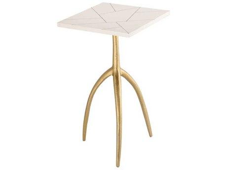 Elk Lighting Houblon Gold / White 14'' Wide Square Pedestal Table