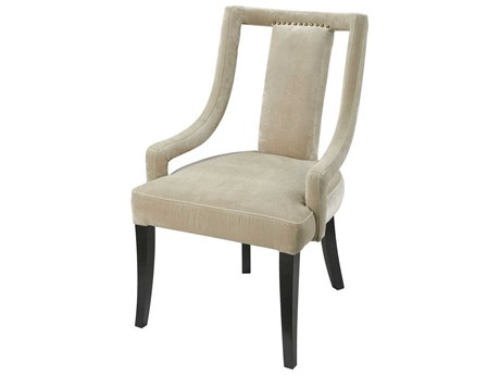 Elk Lighting Hutton Mink Velvet Fabric / Antique Black Legs Arm Dining Chair