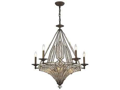 Elk Lighting Jausten Antique Bronze Ten-Light 30'' Wide Chandelier
