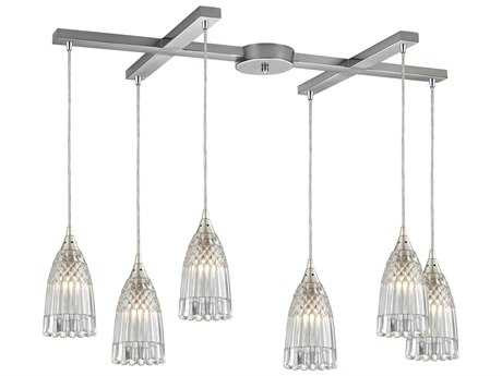 Elk Lighting Kersey Satin Nickel Six-Light 33'' Wide Island Light