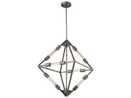 Elk Lighting Laboratory Weathered Zinc Six-Light 20'' Wide Pendant