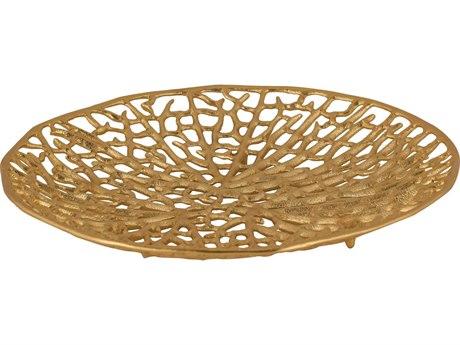 Elk Lighting Leaf Veins Disc Gold Decorative Plate