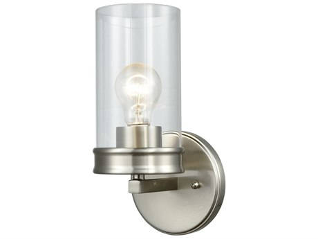 Elk Lighting Leland Satin Nickel Glass Wall Sconce