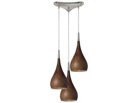 Elk Lighting Lindsey Satin Nickel & Burl Wood Three-Light 10'' Wide Mini-Pendant
