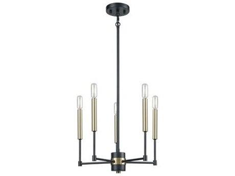 Elk Lighting Livingston Matte Black / Satin Brass 17'' Wide Mini Chandelier