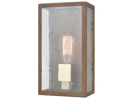 Elk Lighting Mckenzie Dark Wood Print / Brushed Brass Glass Outdoor Wall Light