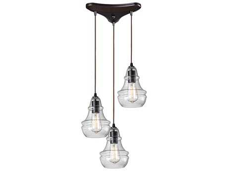 Elk Lighting Menlow Park Oiled Bronze Three-Light 10'' Wide Pendant