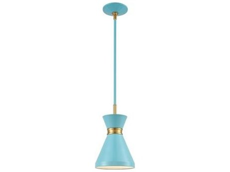 Elk Lighting Modley Pastel Blue / Brushed Brass 7'' Wide Mini Pendants