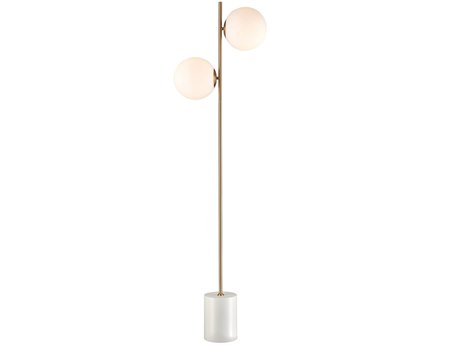 Elk Lighting Moondance Aged Brass / White Glass Floor Lamp