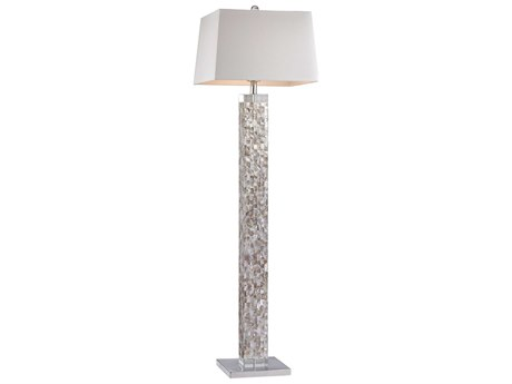 Elk Lighting Mother Of Pearl Mother Of Pearl Shell Floor Lamp with White Shade