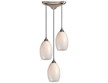 Elk Lighting Mulinello Satin Nickel & White Swirl Glass Three-Light 10'' Wide Pendant