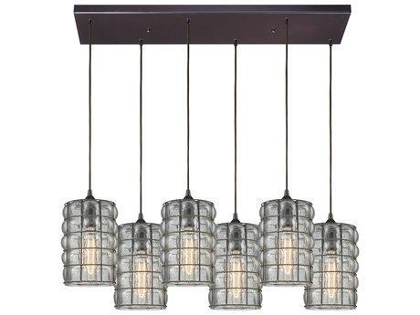 Elk Lighting Murieta Oil Rubbed Bronze 32'' Wide Glass Island Light