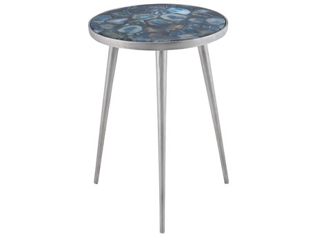 Elk Lighting Mykonos Nickel & Blue 14'' Round Side Table