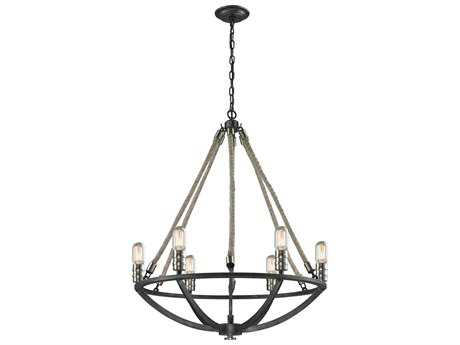Elk Lighting Natural Rope Silvered Graphite & Polished Nickel Accents Six-Light 25'' Wide Chandelier