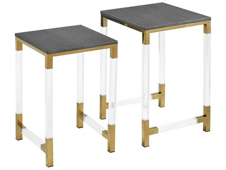 Elk Home Acrylic / Gold-plated Stainless Steel Grey Faux Leather 16'' Wide Square Nesting Table (Set of 2) EK12181013S2