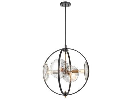 Elk Lighting Oriah Matte Black / Satin Brass 20'' Wide Glass Pendant