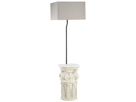 Elk Lighting Patras Antique White Indoor/Outdoor Table Lamp with Taupe & Clear Shade