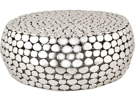 Elk Lighting Pebble 28'' Round Nickel Drum Table