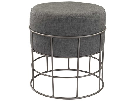 Elk Lighting Pewter & Grey Linen Accent Stool
