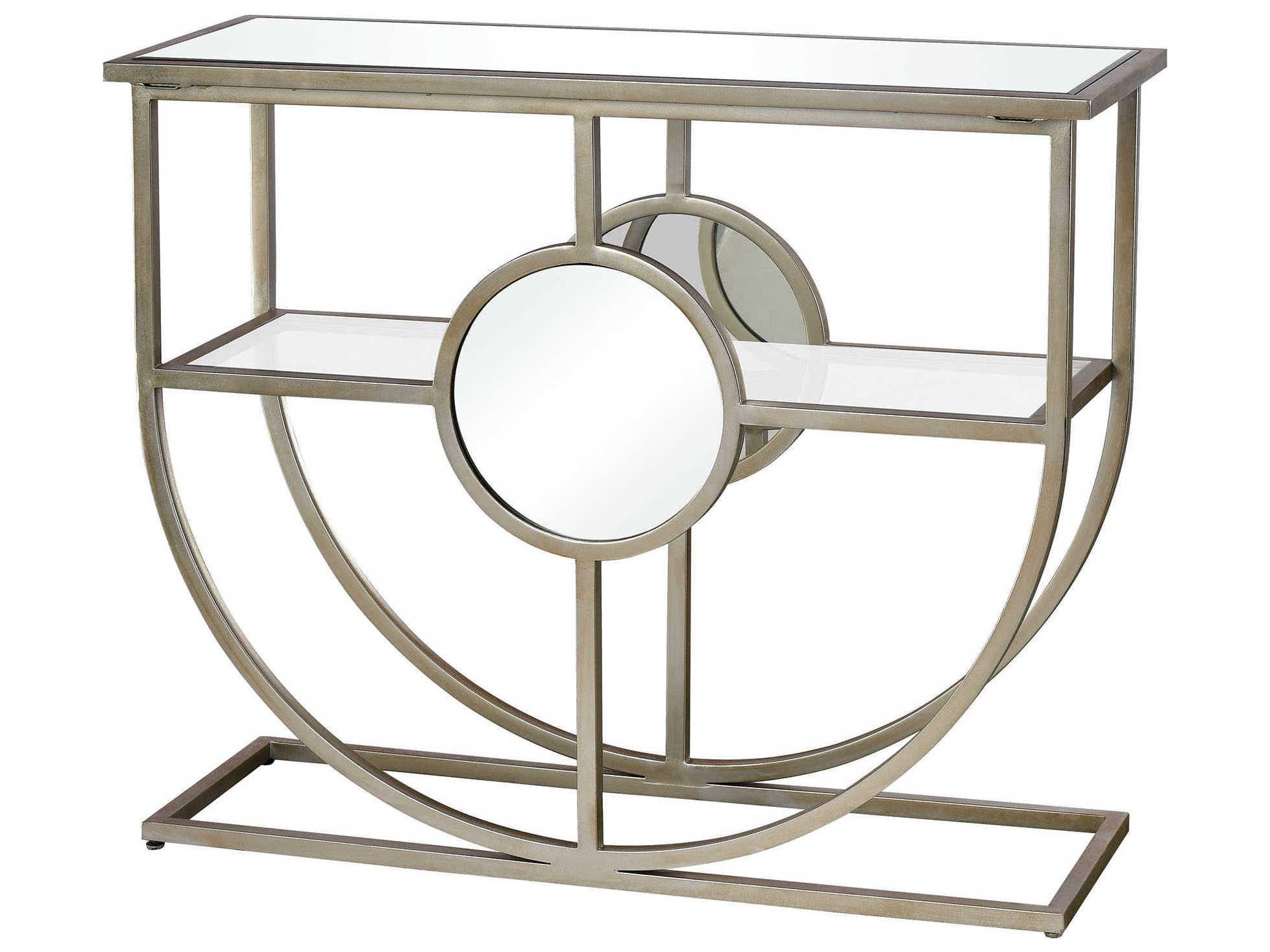 Sensational Elk Lighting Polaris Antique Silver Clear Mirror 38 Wide Rectangular Console Table Machost Co Dining Chair Design Ideas Machostcouk