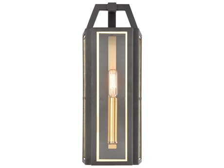 Elk Lighting Portico Charcoal / Brushed Brass Glass Outdoor Wall Light