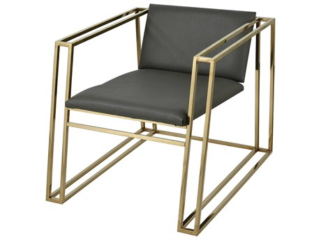 Elk Lighting Pyramid Gold Plated Stainless Steel / Grey Faux Leather Accent Chair
